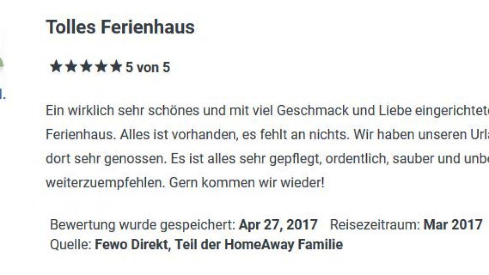 Bewertung von FeWo März 2017