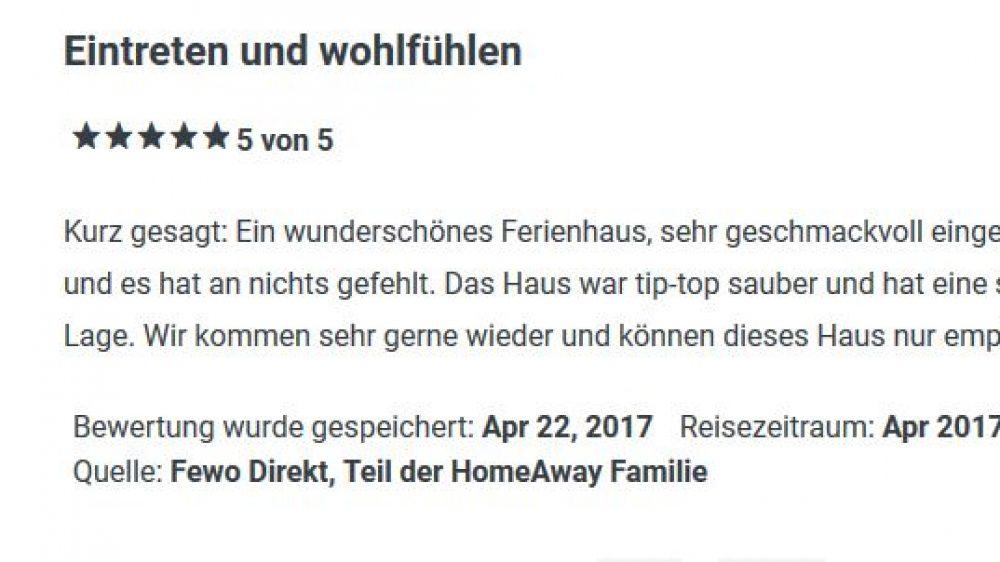 Bewertung von FeWo April 2017
