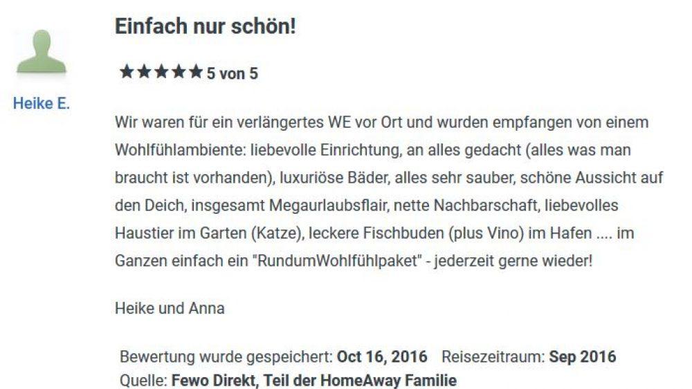 Bewertung von FeWo September 2016