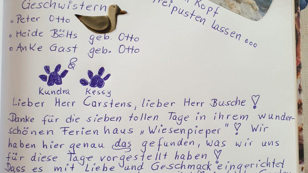 Ferienhaus Wiesenpieper - Gästebuch 14