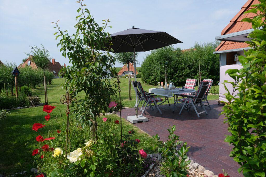 Terrasse Ferienhaus Wiesenpieper in Wremen